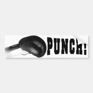 ¡Sacador! Perforación negra del guante de boxeo Etiqueta De Parachoque
