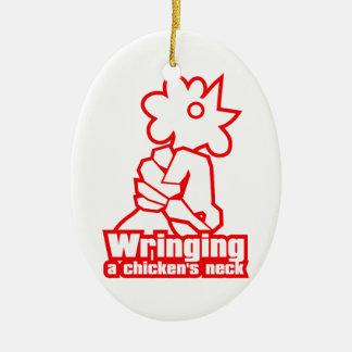 Sacar el cuello de un pollo adorno navideño ovalado de cerámica