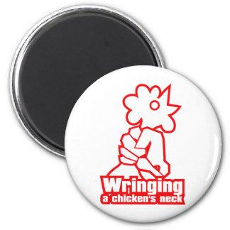 Sacar el cuello de un pollo imán redondo 5 cm