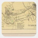 Saccarappa, molinos del Cumberland, mapa del Pegatina Cuadradas Personalizadas
