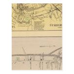 Saccarappa, molinos del Cumberland, mapa del Postales