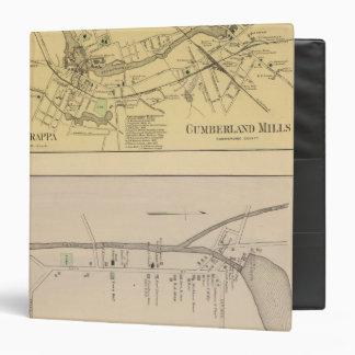 """Saccarappa, molinos del Cumberland, mapa del puebl Carpeta 1 1/2"""""""