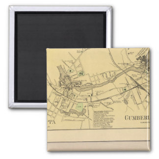 Saccarappa, molinos del Cumberland, mapa del puebl Imán Cuadrado