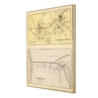 Saccarappa, molinos del Cumberland, mapa del puebl Lona Envuelta Para Galerias