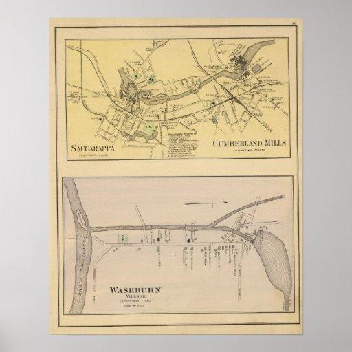 Saccarappa, molinos del Cumberland, mapa del puebl Posters