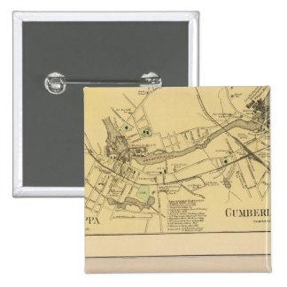 Saccarappa, molinos del Cumberland, mapa del puebl Pin Cuadrada 5 Cm