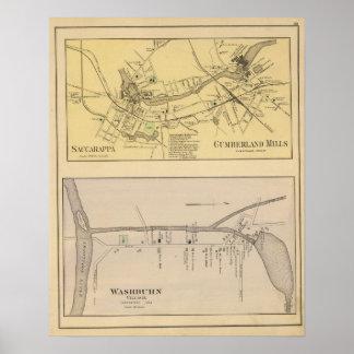 Saccarappa, molinos del Cumberland, mapa del puebl Póster