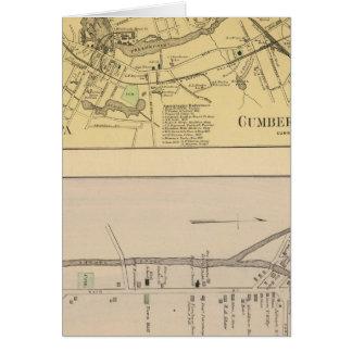 Saccarappa, molinos del Cumberland, mapa del puebl Tarjeta De Felicitación