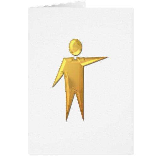 """Sacerdote/ministro """"tridimensionales"""" de oro 2 tarjeta"""