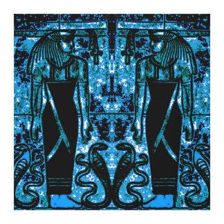 Sacerdotes y cobras egipcios en el azul I C1 SDL Impresión De Lienzo