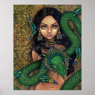 Sacerdotisa del dragón del Azteca de la impresión