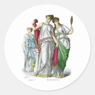 Sacerdotisa del griego clásico y mujeres nobles pegatina redonda