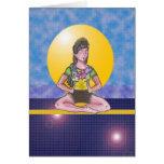 Sacerdotisa en la meditación tarjeta de felicitación