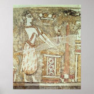Sacerdotisa en un altar, detalle de a póster