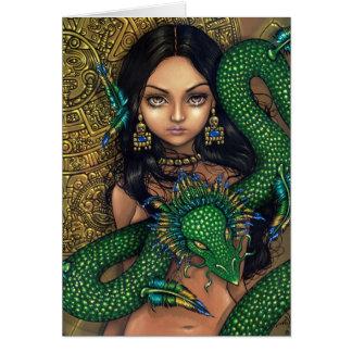 """""""Sacerdotisa tarjeta de felicitación de Quetzalcoa"""