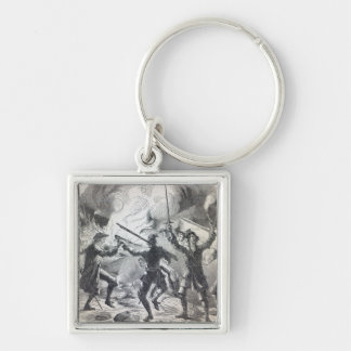 Sacheverell rioters destroy part of a chapel Silver-Colored square keychain