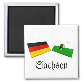 Sachsen, Germany Flag Tiles 2 Inch Square Magnet
