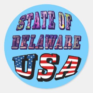Sacie del texto de la imagen de Delaware y de la Pegatina Redonda