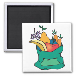 sack of fresh fruit 2 inch square magnet