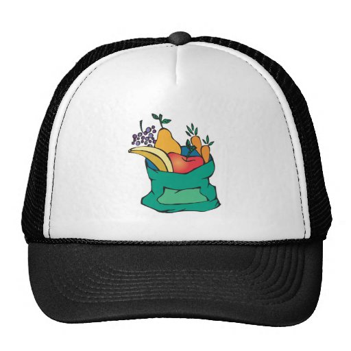 sack of fresh fruit trucker hat