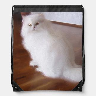 Saco blanco de la cincha del gato persa mochilas