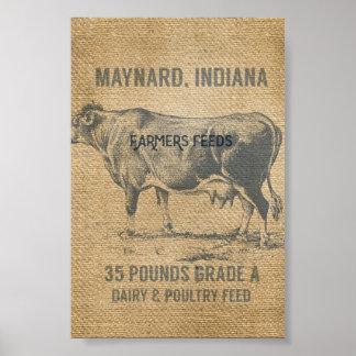 saco de la alimentación de la vaca de la arpillera póster