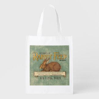 Saco de la alimentación del conejo del vintage, bolsa para la compra