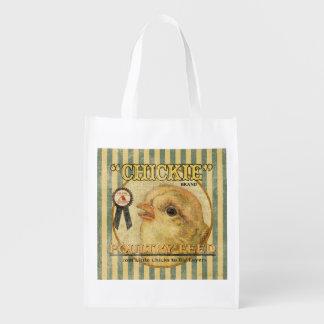 Saco de la alimentación del vintage, Chickie, bols Bolsas Para La Compra