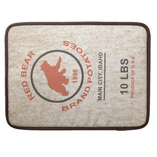 Saco de la patata del vintage (marca roja del oso) funda para macbook pro