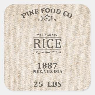 Saco del arroz del vintage pegatina cuadrada
