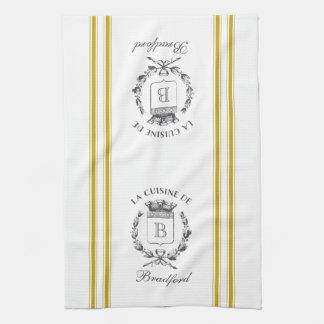 Saco francés del estilo del vintage de la mostaza toalla de cocina