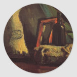 Sacos y botella, todavía del vintage vida de Van Etiquetas Redondas