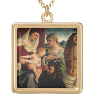 Sacra Conversatione with SS. Catherine, Sebastian Square Pendant Necklace