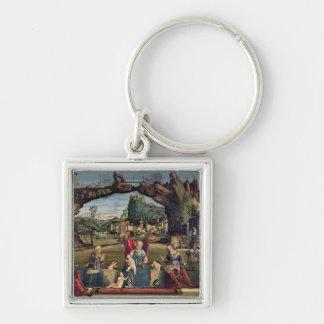 Sacra Conversazione, c.1500 (oil on panel) (for de Silver-Colored Square Keychain