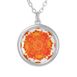 Sacral Chakra Mandala Silver Plated Necklace