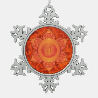 Sacral Chakra Pewter Snowflake Ornament at Zazzle