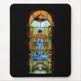 Sacrament of Baptism Stained Glass Art Mouse Pad