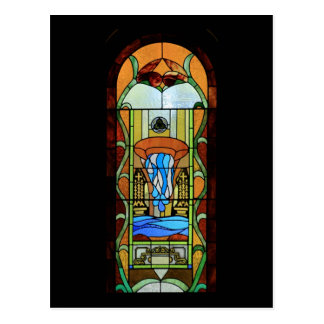 Sacrament of Baptism Stained Glass Art Postcard