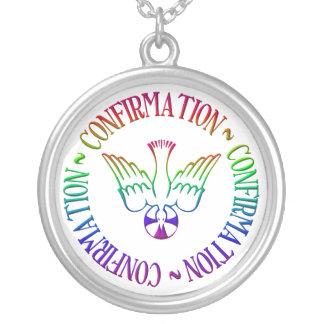 Sacrament of Confirmation - Descent of Holy Spirit Round Pendant Necklace