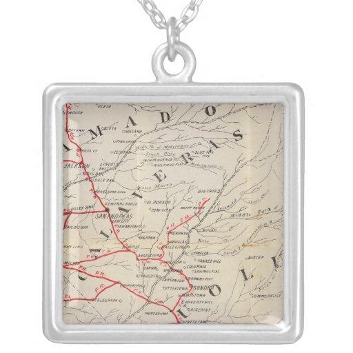 Sacramento, Amador, Calaveras, San Joaquin Square Pendant Necklace
