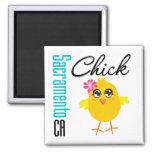 Sacramento CA Chick 2 Inch Square Magnet