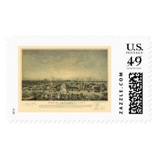 Sacramento, CA Panoramic Map - 1850 Stamp