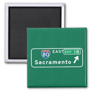Sacramento, CA Road Sign 2 Inch Square Magnet