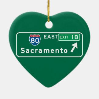 Sacramento, CA Road Sign Ceramic Ornament