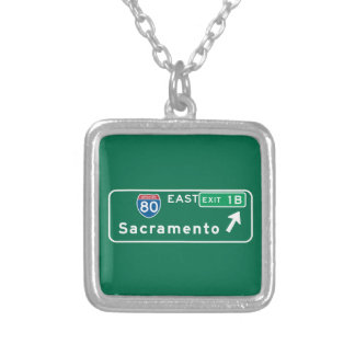 Sacramento, CA Road Sign Necklace