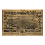 Sacramento California 1890s Antique Panoramic Map Print