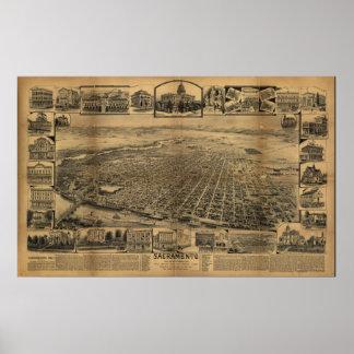 Sacramento California 1890s Antique Panoramic Map Poster