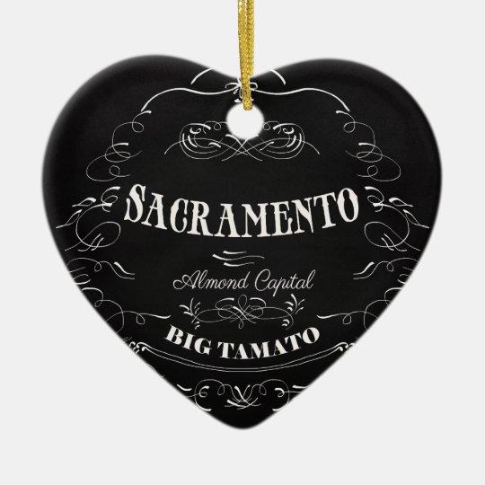 Sacramento, California - Almond Capital Ceramic Ornament