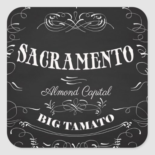 Sacramento, California - capital de la almendra Pegatina Cuadrada