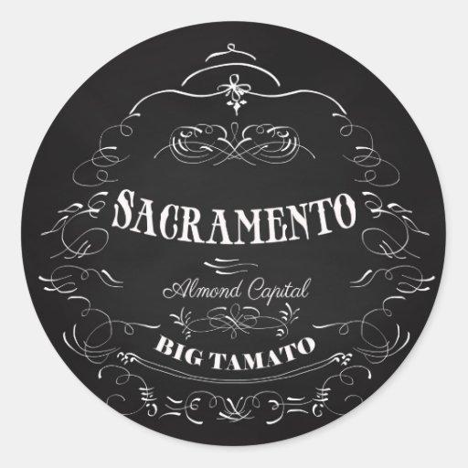 Sacramento, California - capital de la almendra Pegatina Redonda